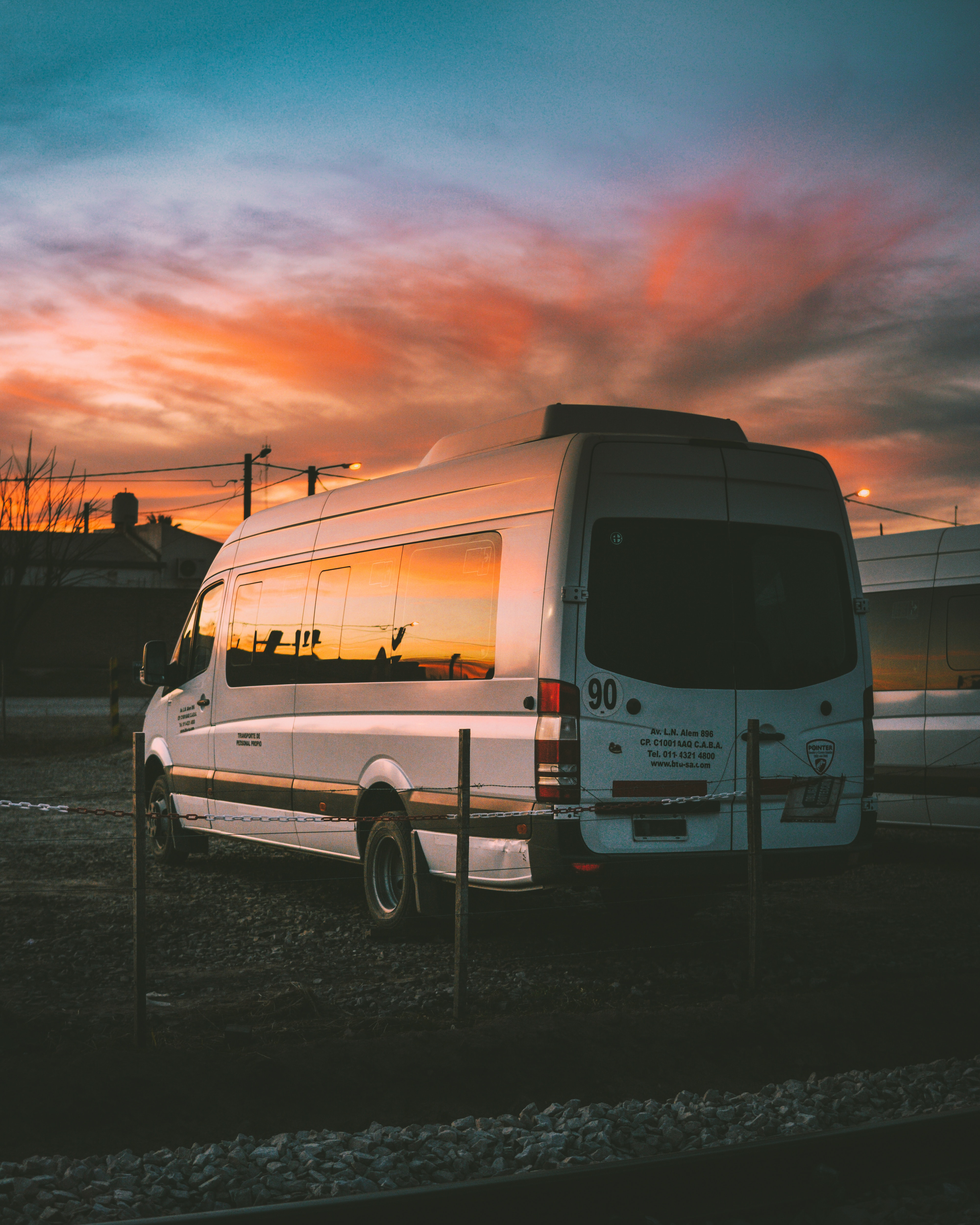 Photo of minibus in sunset